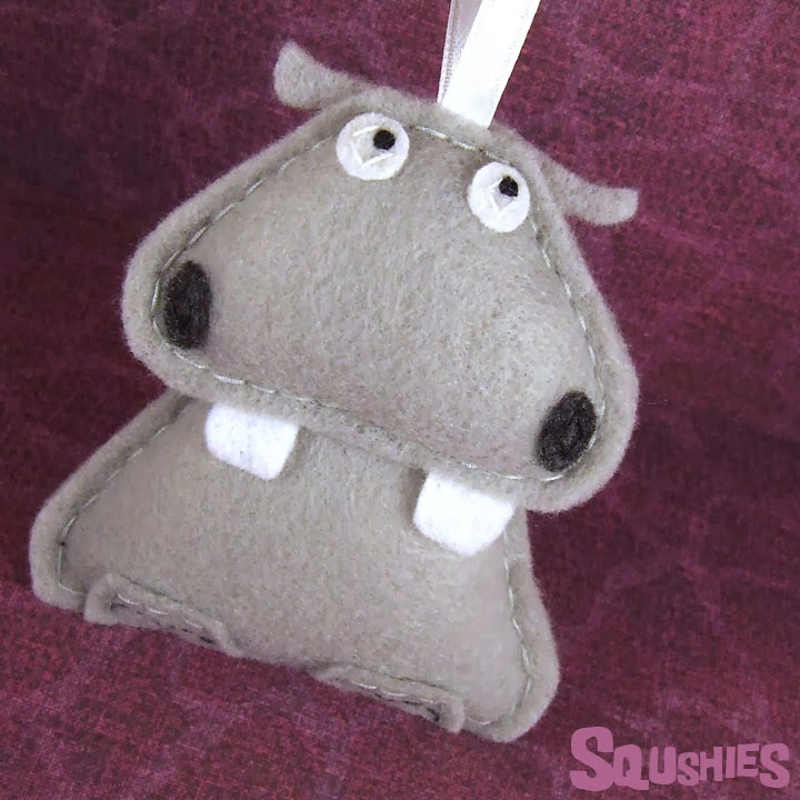 felt hippo ornament