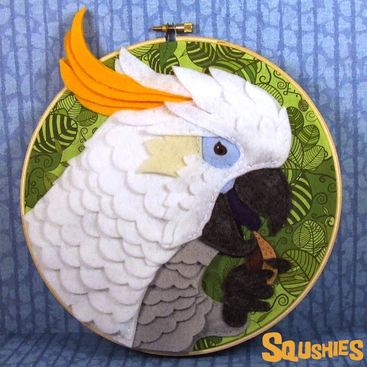 Cockatoo bird hoop art