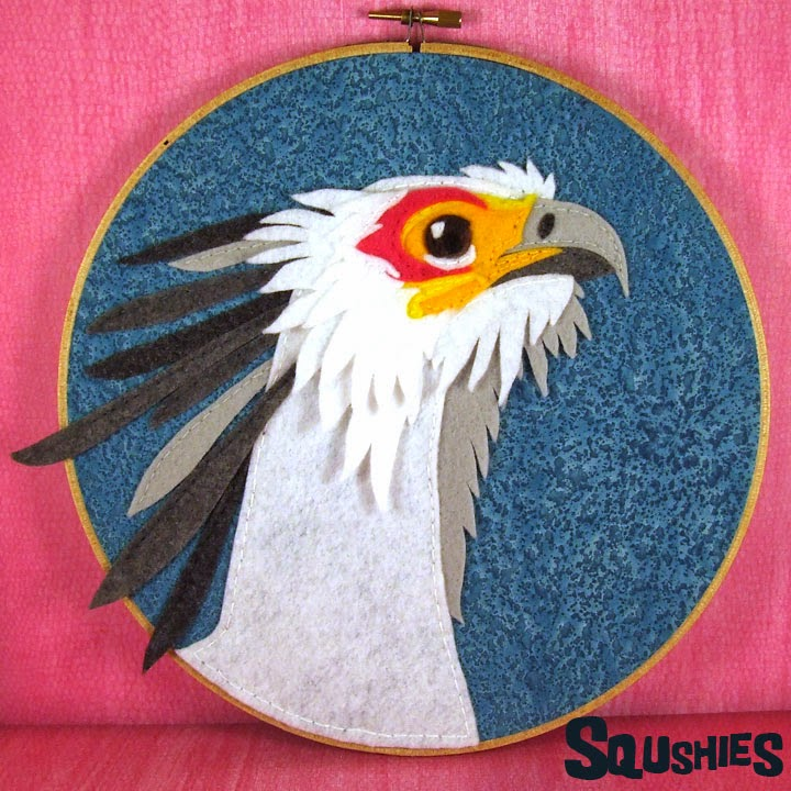 secretary bird embroidery hoop