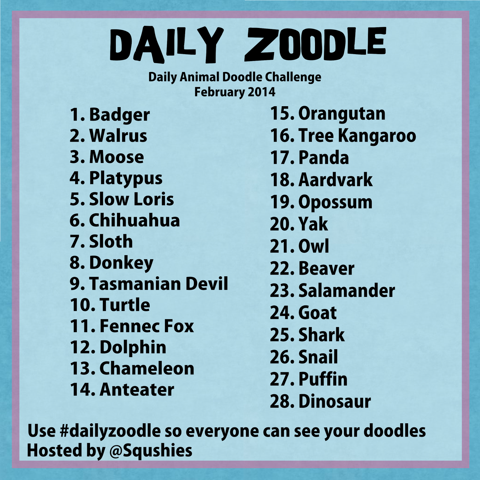 dailyzoodle February prompts
