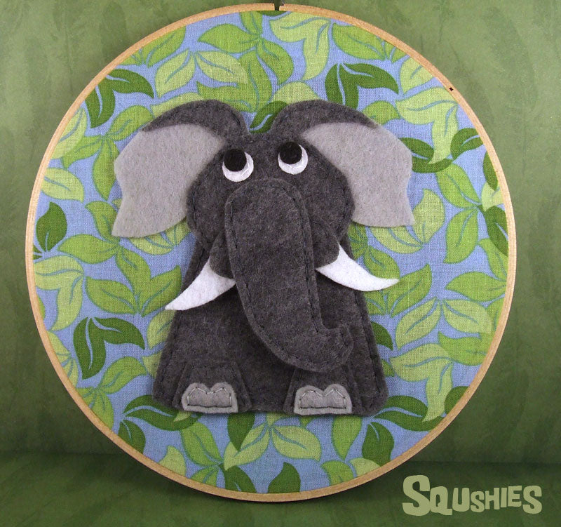 felt animal elephant hoop art