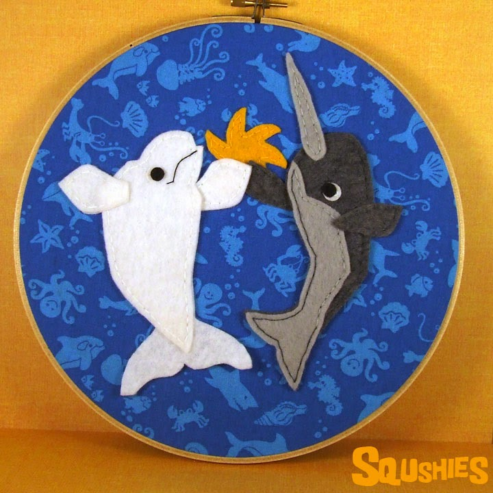 high five whales embroidery hoop
