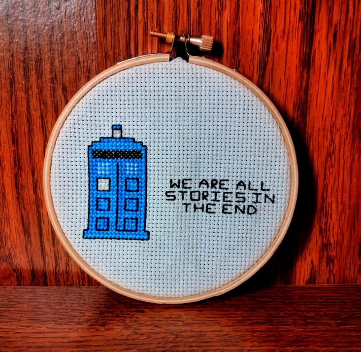Craftypodes TARDIS Cross-Stitch Hoop Art