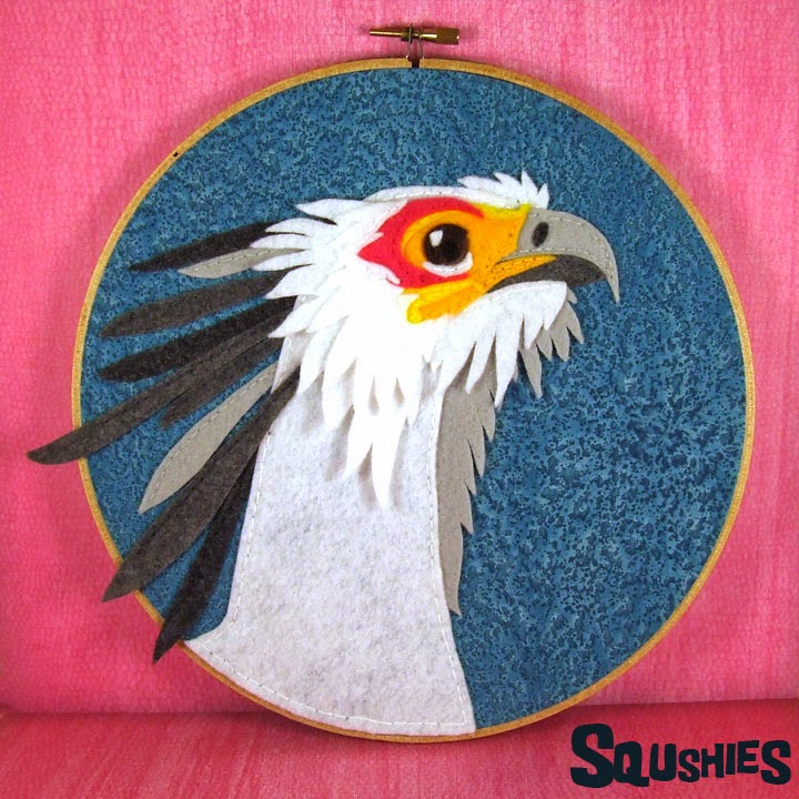 secretary bird hoop art