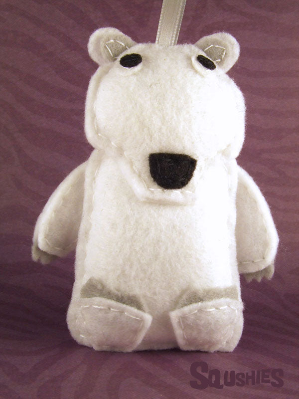 polar bear felt animal ornament