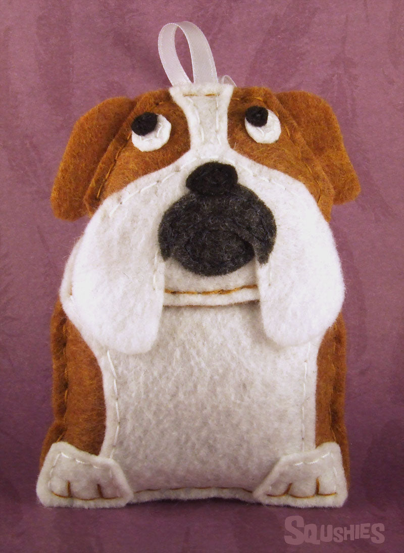 felt bulldog holiday ornament