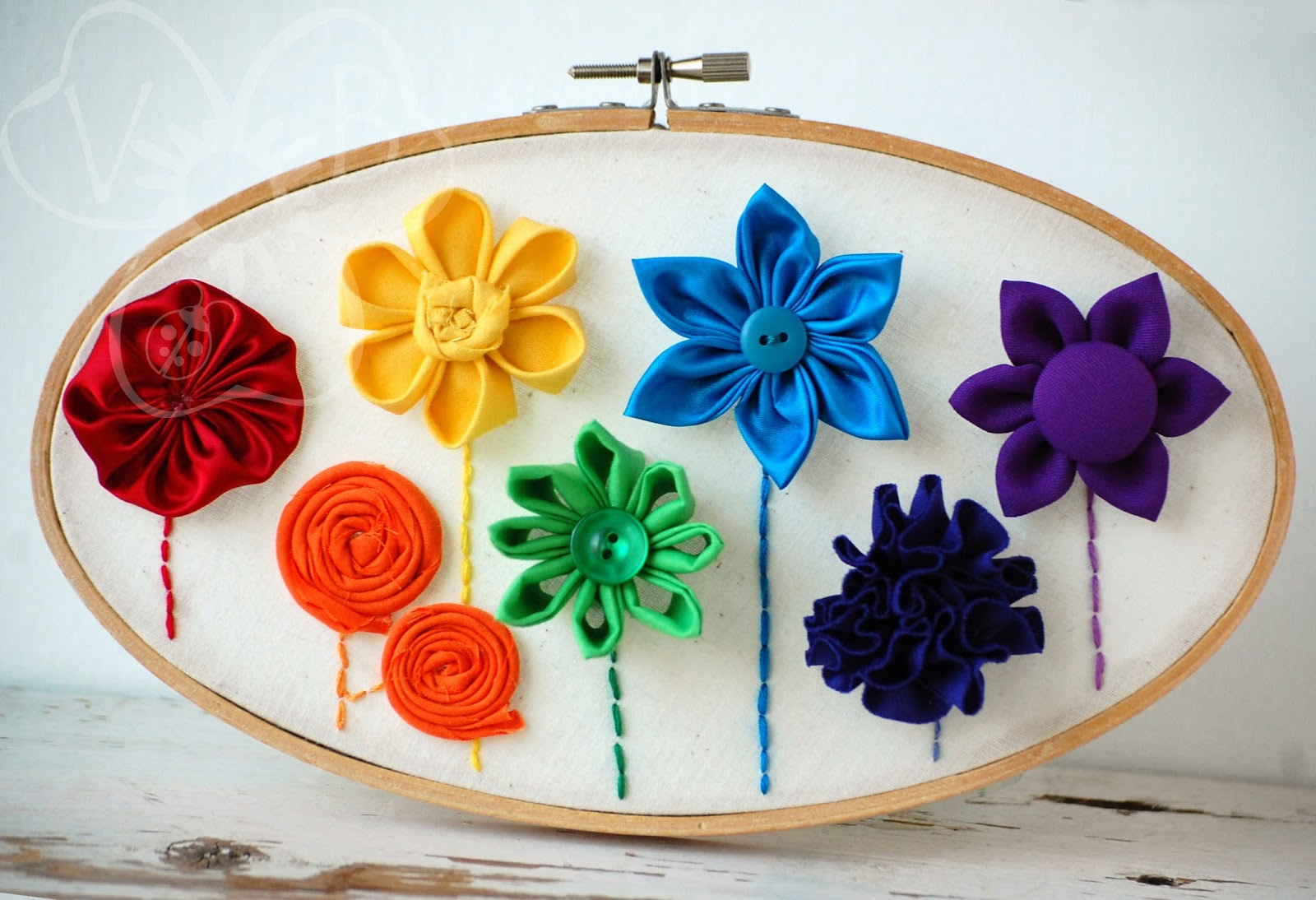 rainbow flower hoop art