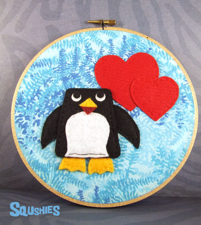 felt penguin wall art