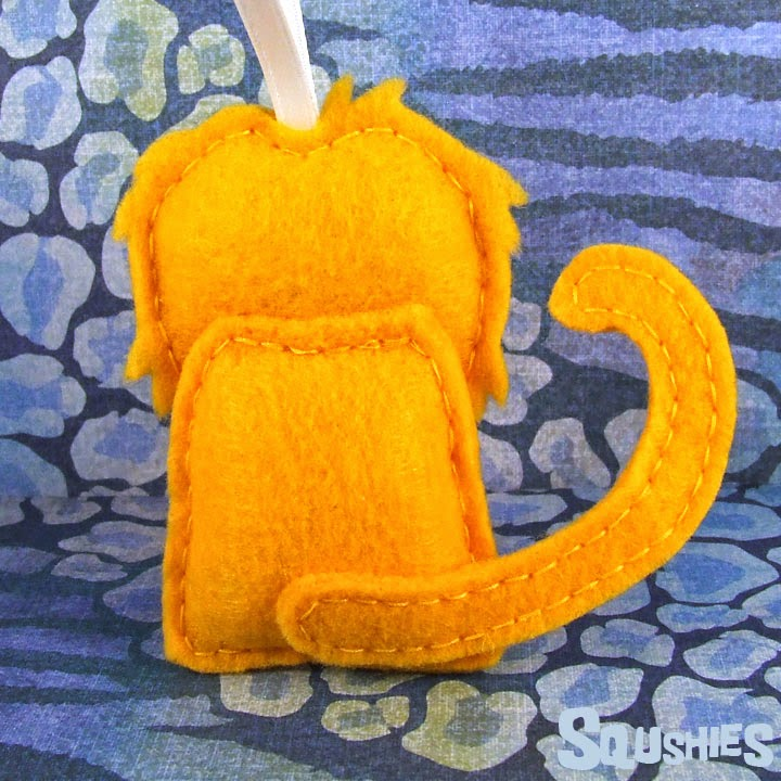 felt monkey ornament tail