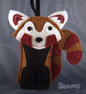 felt red panda ornament