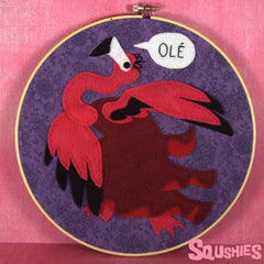 Flamenco Flamingo Felt Wall Art