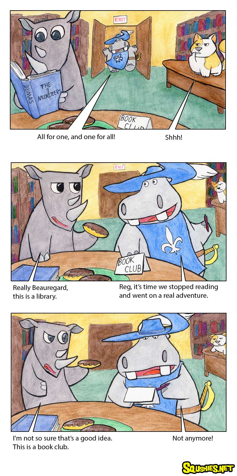 The Squshies web comic! Read about the adventures of Beauregard the Hippo and Reginald the Rhino - Three Musketeers - Week 1