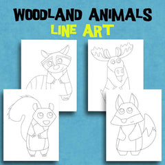 4 Woodland Animal Coloring Pages - Line Art