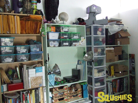 Squshies Studio shelving