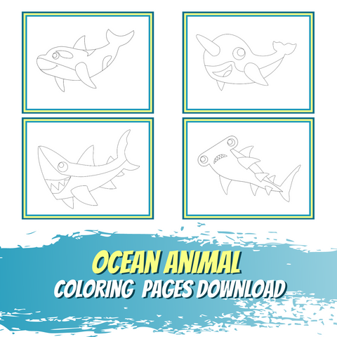 Little World of Beasts - Ocean Animal Coloring Pages - Line Art