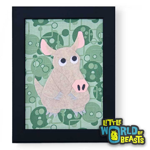 Aardvark - Felt Animal - Framed Nursery Art