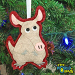 Aardvark - Handmade Felt Animal Christmas Ornament - Little World of Beasts