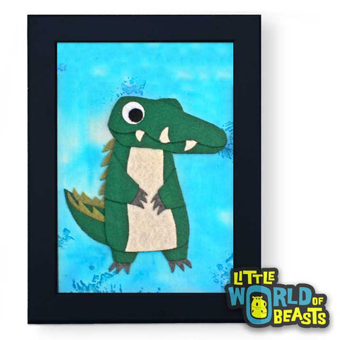 Alligator - Framed Cartoon Zoo Animal Art