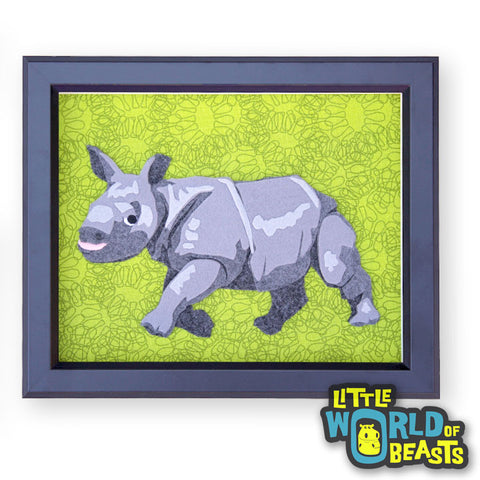 Baby Rhino - Felt Animal Art - Portrait