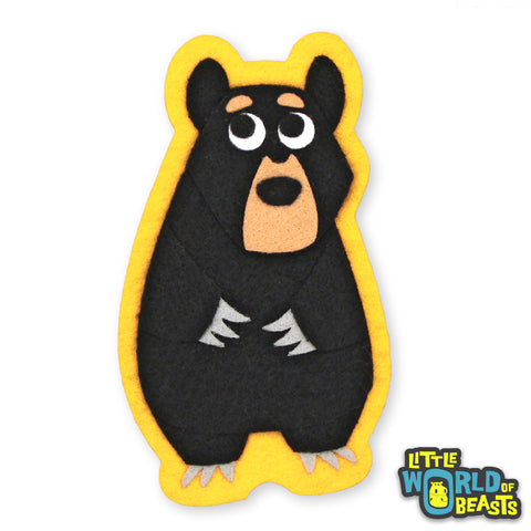 Woodland Felt Animal - Black Bear - Iron On or Sew On Patch