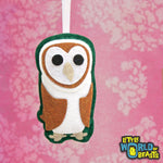 Handmade Barn Owl Christmas Ornament - Personalizable