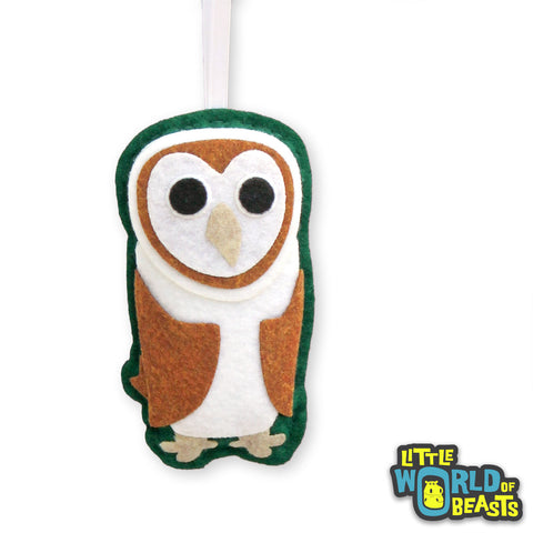 Felt Barn Owl Christmas Ornament - Personalizable
