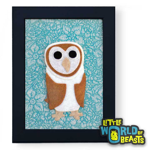 Barn Owl - Felt Animal Home Decor - Wall Art