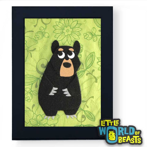 black-bear-frame.jpg  720 × 720px  Black Bear - Framed Woodland Animal Art - Little World of Beasts