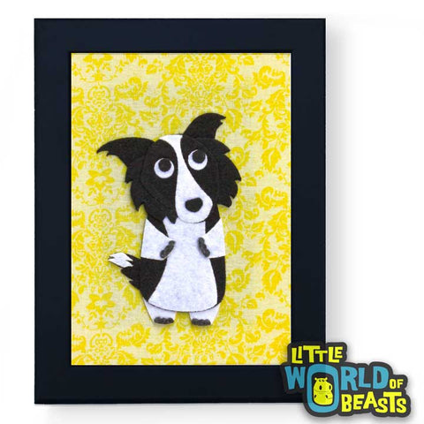 Dorothy the Border Collie - Felt Dog Art - Framed - Little World of Beasts