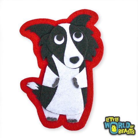 Dorothy the Border Collie - Iron on Felt Dog Patch - Little World of Beasts