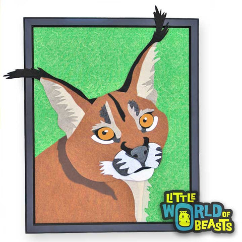 Caracal - Felt Animal Wildlife Portrait