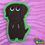 Suzie the Chocolate Lab - Felt Dog Iron on Patch