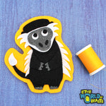 Colobus Monkey - Felt Animal Patch- Sew On or Iron On