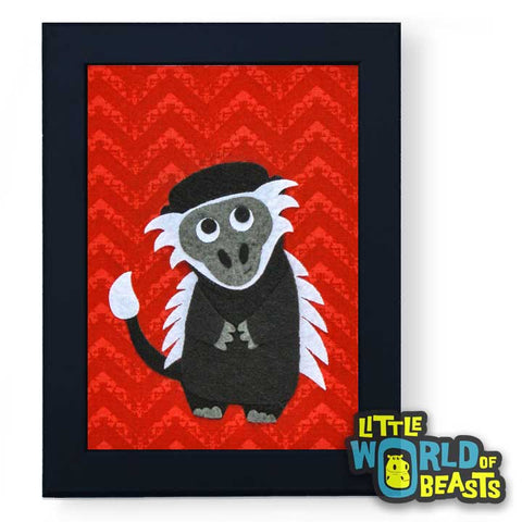 Albert the Colobus Monkey - Framed - Kids Room Decor - Little World of Beasts