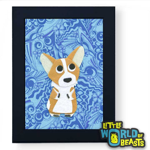 Newton the Corgi Framed - Dog Art- Kid's Room Decor