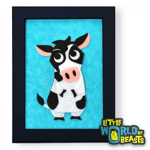 Fiona the Cow - Farm Animal Nursery Art Framed 5 x 7 - Little World of Beasts