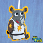 RPG Christmas Ornament - Healer - Rhino Felt Animal