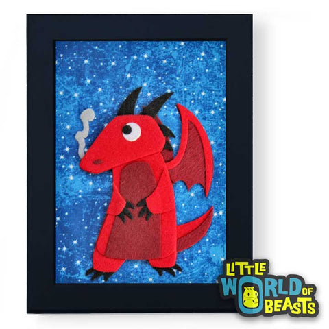 Red Dragon - Felt Nursery Art - Little World of Beasts