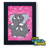 Ira the Elephant Framed - Zoo Animal Nursery Art - Little World of Beasts