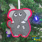 Ira the Elephant - Felt Animal - Christmas Tree Ornament  - Little World of Beasts
