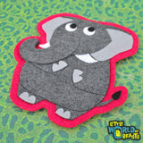 Ira the Elephant - Felt Patch - Zoo Animal Applique