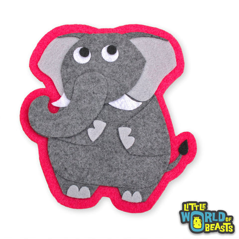 Ira the Elephant - Felt Patch - Zoo Animal Applique - Little World of Beasts
