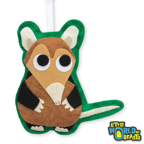 Gideon the Elephant Shrew Felt Animal Ornament