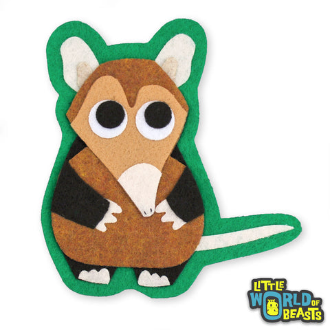 Gideon the Elephant Shrew Felt Animal Patch
