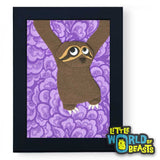 Gracie the Sloth - Framed Felt Animal Nursery Art - Little World of Beasts