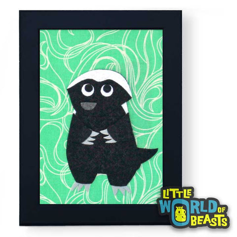 Pumpkin the Honey Badger Framed African Animal Art - Little World of Beasts