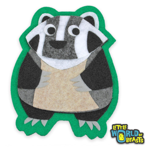 Felt Animal Woodland Patch - Badger