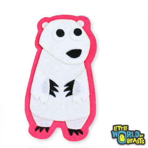 Polar Bear - Felt Animal Patch - Sew On or Iron On  - Little World of Beasts