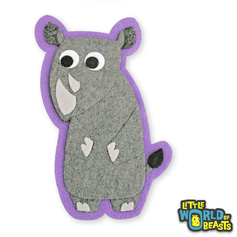 Reginald the Rhino - Felt Animal Patch - Sew On or Iron On Applique