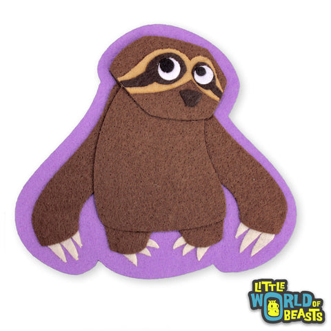 Gracie the Sloth - Felt Animal Sew On or Iron On Patch -  Little World of Beasts